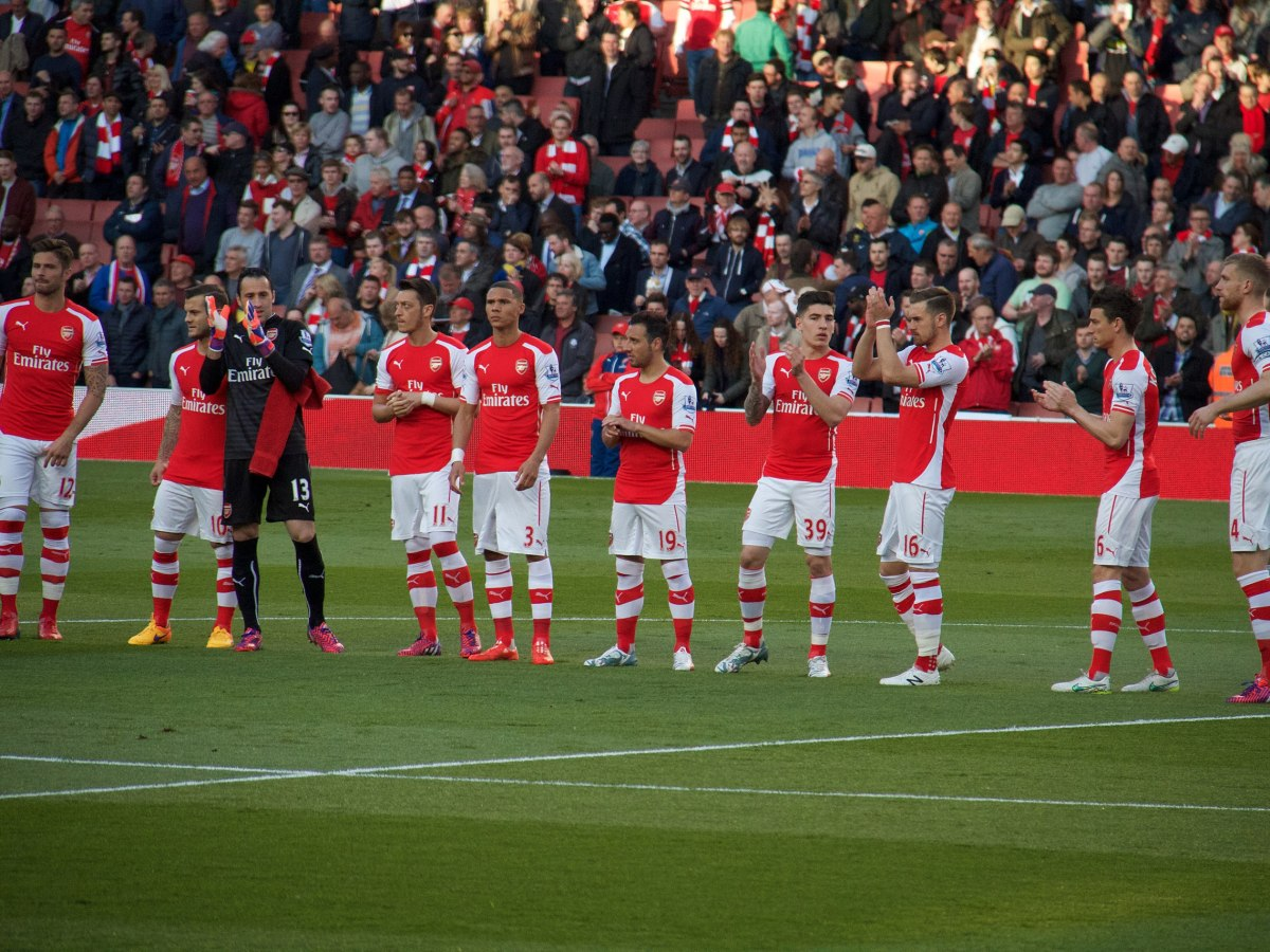 Arsenal applaud their fans